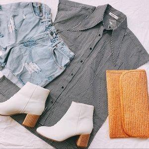 MOD REF | S | Nwot | Gingham Oversized Collar Top